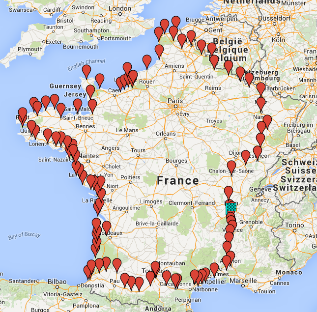 Carte tour de France en monoroue